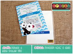 Invitación de Pandas - Baby shower niño… Podemos personalizarla con cualquier tema! • Panda invitation - Boy baby shower... We can personalize it with any party theme!