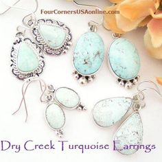 Dry Creek Turquoise Earrings | Four Corners USA Native American Silver Jewelry http://stores.fourcornersusaonline.com/dry-creek-turquoise-earrings/