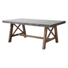 The Ford Dining table is made from solid Acacia wood base finished in a contemporary dark walnut stain. The top is a non-porous epoxy and cement mix designed to