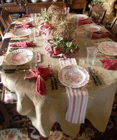 Tavola shabby country per Natale