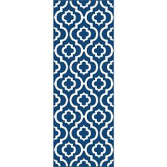 Metropolis Contemporary Navy Runner Rug (2'7 x 7'3) | Overstock.com Shopping - The Best Deals on Runner Rugs