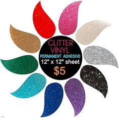 Glitter Vinyl Permanent Adhesive 3 qty sheets 10 by Havitalls