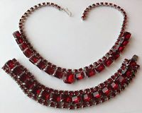 VINTAGE JULIANA RED RHINESTONE NECKLACE AND BRACELET