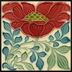 Rare Pilkington Lewis Day Arts & Crafts Floral Majolica Peony Tile in Antiques, Architectural Antiques, Tiles Motifs Art Nouveau, Azulejos Art Nouveau, Design Art Nouveau, Antique Tiles, Antique Art, Vintage Tile, Art And Craft Design, Design Crafts, Vitromosaico Ideas
