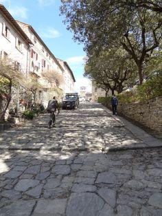 cobblestone streets of Il Poggio,  the upper part of Cortona, Italy