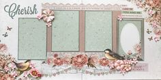 SCRAPPY HAPPY DESIGNS Premade Scrapbook Layout using Kaisercraft Sage and Grace papers $15