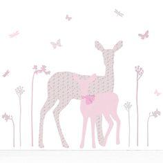 deer and fawn wall sticker by koko kids | notonthehighstreet.com