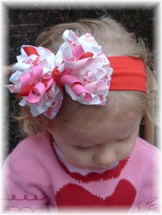 Valentines Day Love Red Pink Hair Bow Headband by RebekahsBowtique
