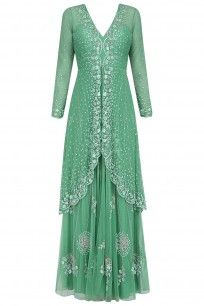 Green Floral Embroidered Two Layered Gown