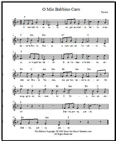 O mio babbino caro by Puccini, free lead sheets and also piano accompaniment, in different keys for young voices!