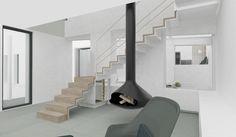 Salon / Escalier / cheminée suspendue