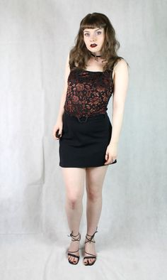 90s Grunge Gothic Romantic Boho Brown Velvet Floral by MICROMALL