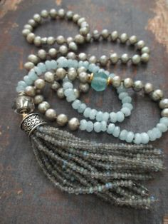 Labradorite tassel necklace - Calm - aquamarine March birthstone long knotted freshwater pearl luxe beach boho by slashKnots