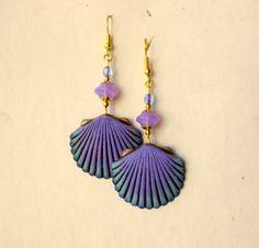 Sea Shell Earrings / Lavender Czech Glass by sandynejedly on Etsy