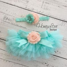 SET Mint/Aqua tutu skirt bloomers diaper cover, peach flower headband satin bow, ruffles all around, newborn infant toddler little baby girl newborn photography prop birthday girl cake smash set by HoneyLove Boutique