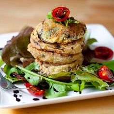 Fried Green Tomatoes with Balsamic Reduction - Appetizer or side .