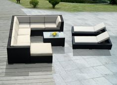 Genuine Ohana Outdoor Sectional Sofa and Chaise Lounge Set (10 Pc Set) with Free Patio Cover by Ohana Collection. $2899.00. Curbside delivery with signature required. Sofa 8pc set includes 3 Corner Sofas + 3 Middle Sofas + 1 Ottoman + 1 Coffee Table ( beige cushions ). All Weather Black Wicker 8pc sectional sofa set plus Chaise Lounge Set. Factory Direct Price (MSRP $4999) Matching Black Wicker set.. Chaise Lounge Set ( 2 pc ). All Ohana Collection patio sets are made an...