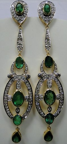 14 K solid gold Art Deco Diamond emerald earrings dangles VS -G DIAMODNS