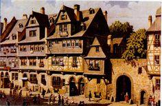 FRANKFURT . GOETHEHAUS ca 1750 , VOR DER RENOVIERUNG . Frankfurt, Medieval Fantasy, Notre Dame, Maine, Germany, Building, Travel, Painting, Hessen