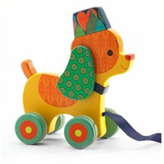 Inou the little dog - pull along toy for children #frenchtoys #childrenstoys #frenchblossom