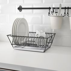 IKEA - FINTORP, Dish drainer, black, galvanized, Can be hung on the wall or placed on the countertop. Removable tray underneath to collect water from the drainer. Combines with other accessories in the FINTORP series. Kitchen Organization, Kitchen Storage, Dish Storage, Fintorp Ikea, Kitchen Sink, Kitchen Decor, Ikea Kitchen, Kitchen Cabinets, Style Rustique