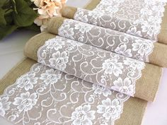 Burlap table runner Wedding linens angelic white by HotCocoaDesign