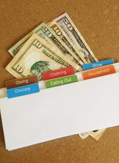 Cash Envelope Tabs  Set of 6 by authenticU on Etsy