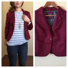 """❄️WINTER SALE❄️ The Limited Outback Red Blazer Fun and stylish maroon blazer from The Limited's Outback Red line! Women's size Small. 3/4 sleeve. One button in front. Two button design on sleeves. This blazer has some stretch to it and is super comfy! It is in excellent condition with no rips or stains on it. Approximate measurements are given below:  Length: 12"""" Width: 18"""" Sleeve length: 21""""  Feel free to comment with any questions! The Limited Jackets & Coats Blazers"""