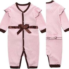 #cute#blush#pink #baby #girl #romper #jumpsuit with #brown #polkadots and #bow around waist and #trim and #ruffles on shoulder and bottom. Only $20 to #spoil your #favourite #princess . #instapic #instagramers #instacool #instastyle #instadaily #instafashion