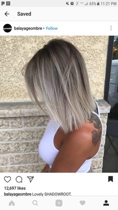 Shadowroot dark grey/ black to light grey / bleached ombre balayage