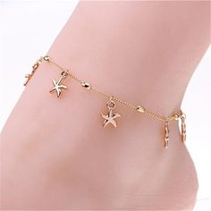 Women Charm Gold Starfish Chain Anklet Bracelet Barefoot Sandal Foot Jewelry New Hipster Jewelry, Cute Jewelry, Gold Jewelry, Jewlery, Women Jewelry, Gold Bracelets, Diamond Jewellery, Bracelet Friendship, Rebel Fashion