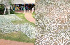 Azulejos de spray na grama -  Projeto PORO: intervenções urbanas apontam sutilezas nas ruas através da ocupação poética;