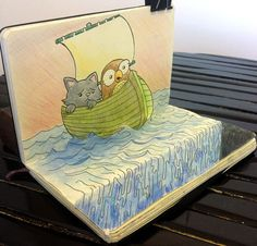 """Ok, this is way too amazing not to share: amazing simulated """"3D"""" effect drawn on moleskine sketchbook by pencil-fury"""