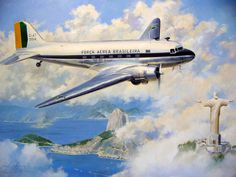 Brazilian Air Force Douglas C 47 in an artistic rendition showing the landscape at Rio de Janeiro with The Sugar Loaf peak and the Christ The Redeemer statue. Brazilian Air Force, Jigsaw, Cool Backdrops, Christ The Redeemer Statue, American Manufacturing, Aircraft Painting, Airplane Art, Vintage Airplanes, Aviation Art