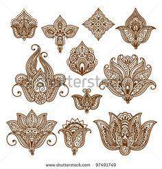 Zierblumen. Vektorset mit abstrakten floralen Elementen im indischen Stil