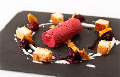 Blackberry parfait, honeycomb and apple sponge