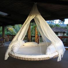 You can hang these beds just about anywhere, from the ceiling, or outdoors from a beam, gazebo, tree or a portable stand. Features a memory foam mattress.