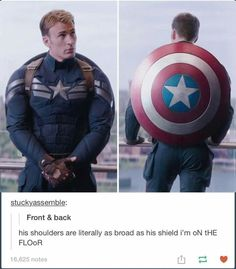 And can we talk about how good he looks from every angle?// Steve Rogers everyone! Avengers Memes, Marvel Jokes, Marvel Funny, Marvel Dc Comics, Marvel Avengers, Steve Rogers, Fandoms, Golden Trio, Capitan America Chris Evans