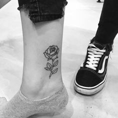 #rose #tattoo #rosetattoo #vans #oldskool #cartoon #pretty #small #ankle