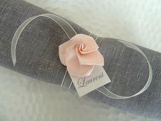 50 ronds de serviette marques places pour mariage en origami - rose pâle en papier - décoration table vintage - champêtre : Cuisine et service de table par papierelief