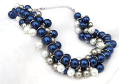 Pearl Cluster Bib Necklace Blue Silver White by ExpressiveBeauty, $38.00