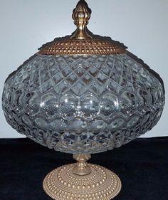 Kristall Glas Schale Deckeldose Walther Kristallglas feuerpoliert Bonboniere