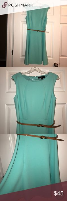 GNW Mint Green A-line Dress 6 Mint Green dress. A-line. Sleeveless. Unlined. Belt. Size 6. 95% polyester & 5% spandex. Measured across: shoulder to shoulder 16in, armpit to armpit 17in, waist 14in, length 36in GNW Dresses Midi