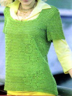 tejidos artesanales: remera verde con detalle en flor (talle 48)