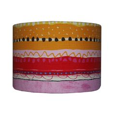 Rainbow striped Lampshade, Back To School Dorm Room Decor, Yellow Orange Red Pink shade Retro drum lamp shade, Detola And Geek