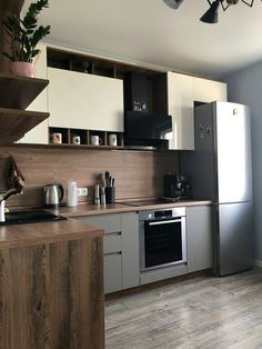 Modern Kitchen Design, Interior Design Kitchen, Beautiful Kitchens, Cool Kitchens, Living Room Kitchen, Kitchen Decor, Kitchen Colour Combination, Small Kitchen Storage, Kitchen Flooring