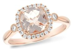 14K Rose Gold Cushion Cut Morganite and Diamond Halo Ring