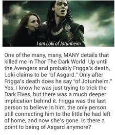 I love it because, why's aside, it captures perfectly who he is now. Loki changed a lot before and during this movie; and we see him acknowledge it here.