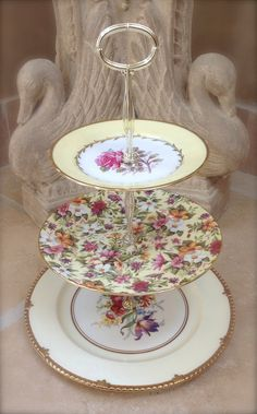 3 Tier cake Stand Garden Tier Vintage china by HelensRoyalTeaHouse, $130.00
