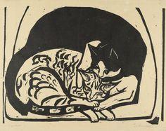 By Ernst Ludwig Kirchner (1880-1938), 1936, Two Cats (Zwei Katzen), woodcut.